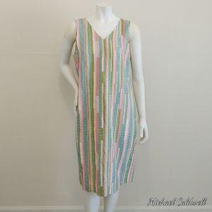 Harvé Benard Linen Blend Pastels Sheath Dress SZ 8